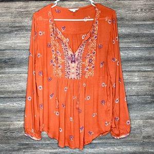 Lucky Brand Boho long sleeve baby doll blouse